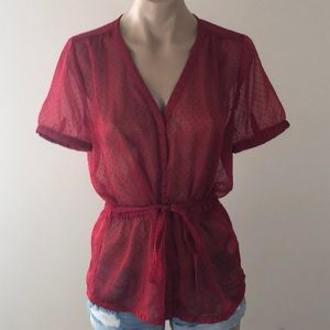 BANANA REPUBLIC RED SHEER TOP SIZE MEDIUM